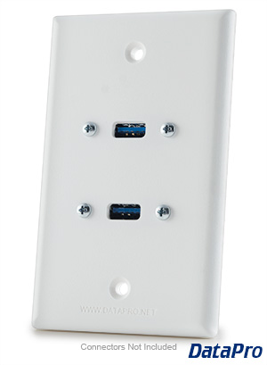 USB 2.0/3.0 Type A Wall Plate - Dual