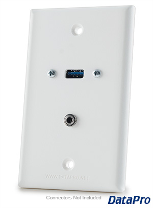 USB and 3.5mm Audio Wall Plate