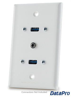Faceplate 2X USB and 3.5MM Audio Wall Plate