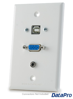 VGA & USB-B & 3.5mm Audio Wall Plate