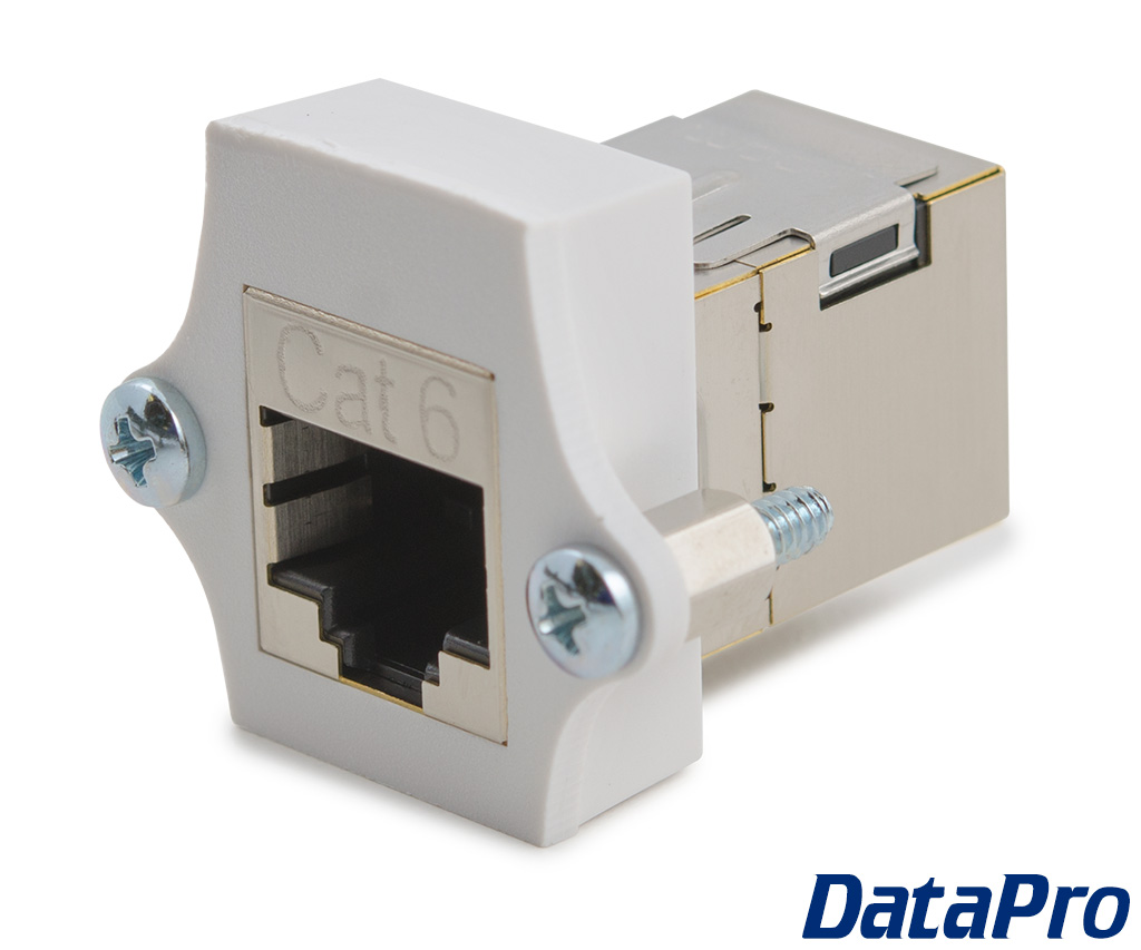Shielded panel mount cat rj coupler f datapro