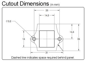 Ethernet/Keystone Cutout Dimensions