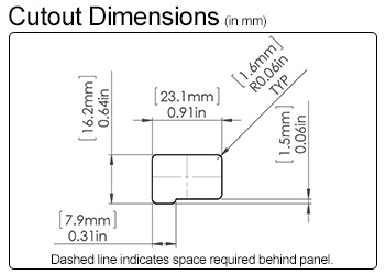 USB Snap-In Cutout Dimensions