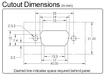 VGA/DB9 Waterproof Cutout Dimensions